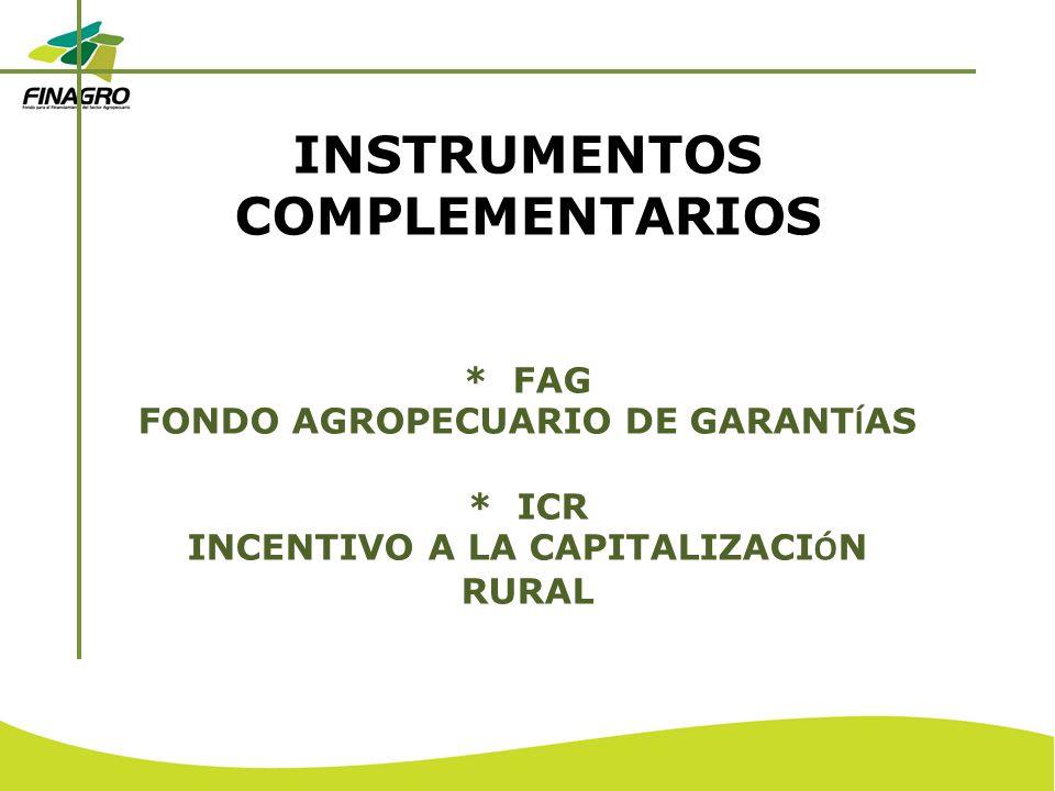 INSTRUMENTOS COMPLEMENTARIOS * FAG FONDO AGROPECUARIO DE GARANT Í AS * ICR INCENTIVO A LA CAPITALIZACI Ó N RURAL