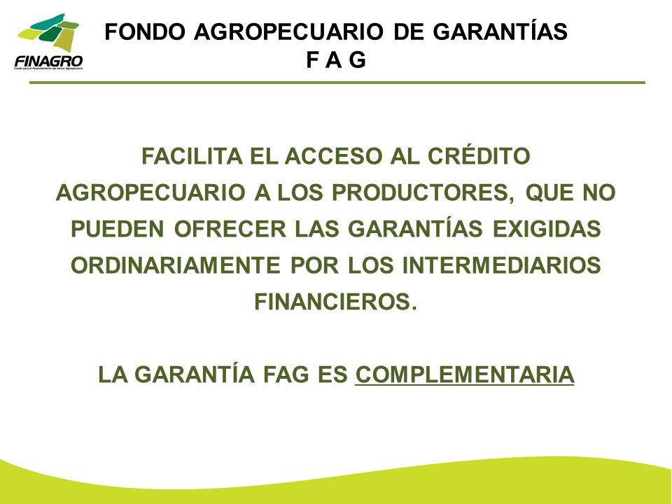 FONDO AGROPECUARIO DE GARANTÍAS F A G FACILITA EL ACCESO AL CRÉDITO AGROPECUARIO A LOS PRODUCTORES, QUE NO PUEDEN OFRECER LAS GARANTÍAS EXIGIDAS ORDIN