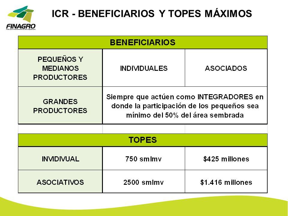 ICR - BENEFICIARIOS Y TOPES MÁXIMOS