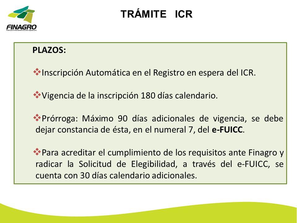 TRÁMITE ICR PLAZOS: Inscripción Automática en el Registro en espera del ICR. Vigencia de la inscripción 180 días calendario. Prórroga: Máximo 90 días