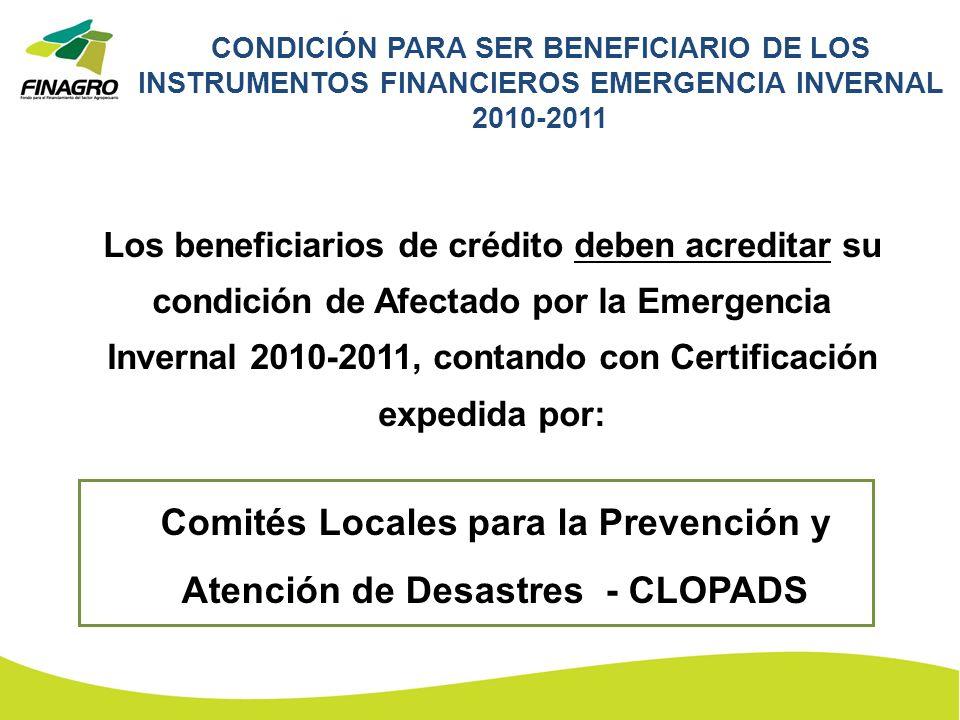 CONDICIÓN PARA SER BENEFICIARIO DE LOS INSTRUMENTOS FINANCIEROS EMERGENCIA INVERNAL 2010-2011 Los beneficiarios de crédito deben acreditar su condició