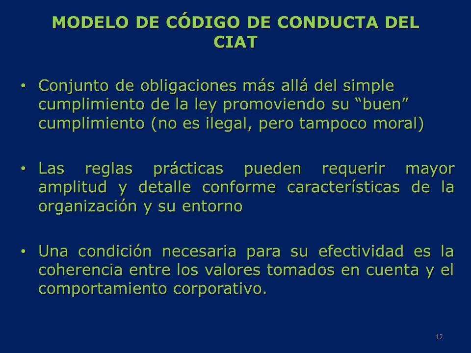 MODELO DE CÓDIGO DE CONDUCTA DEL CIAT Conjunto de obligaciones más allá del simple cumplimiento de la ley promoviendo su buen cumplimiento (no es ileg