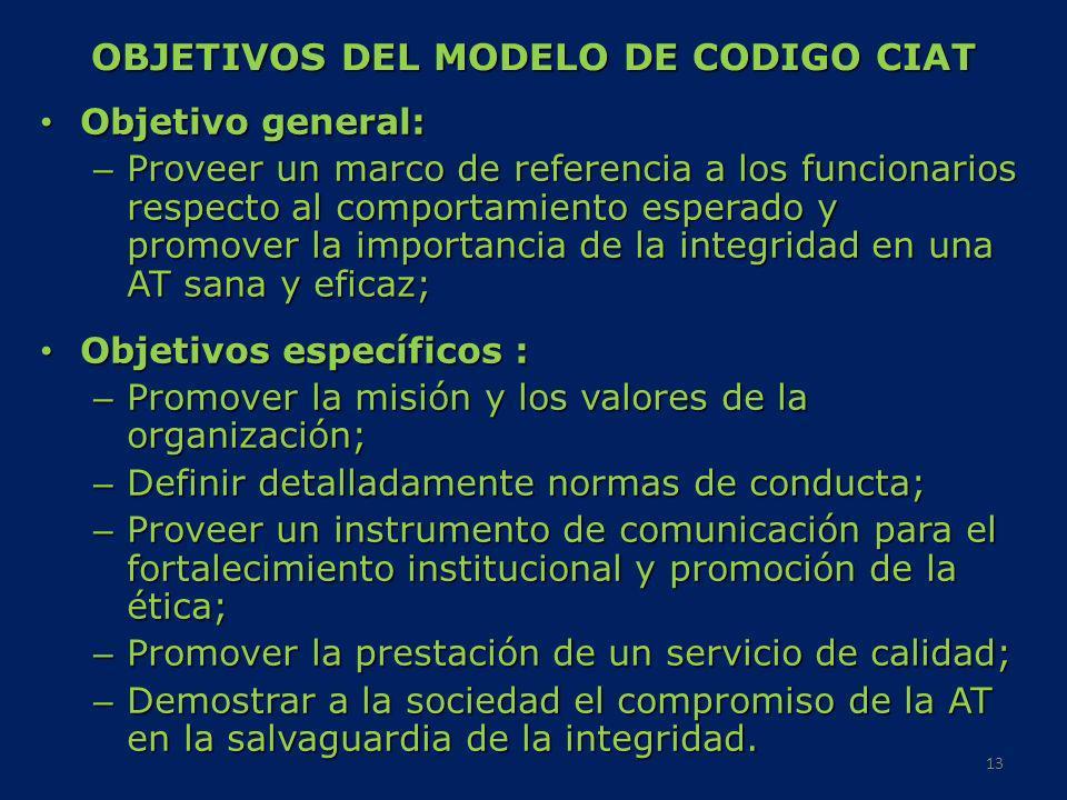 OBJETIVOS DEL MODELO DE CODIGO CIAT Objetivo general: Objetivo general: – Proveer un marco de referencia a los funcionarios respecto al comportamiento