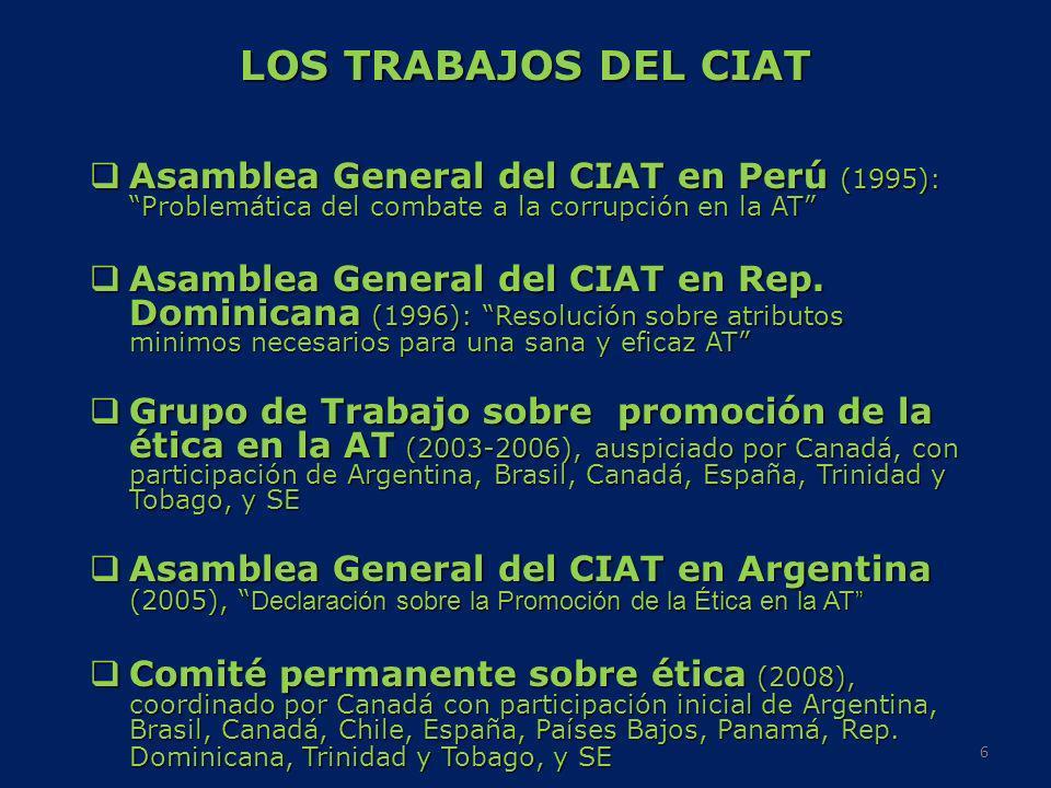 LOS TRABAJOS DEL CIAT Asamblea General del CIAT en Perú (1995): Problemática del combate a la corrupción en la AT Asamblea General del CIAT en Perú (1