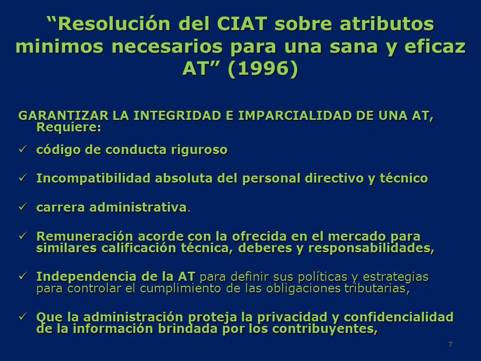 Resolución del CIAT sobre atributos minimos necesarios para una sana y eficaz AT (1996) GARANTIZAR LA INTEGRIDAD E IMPARCIALIDAD DE UNA AT, Requiere: