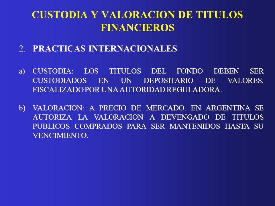 CUSTODIA Y VALORACION DE TITULOS FINANCIEROS 2.PRACTICAS INTERNACIONALES a)CUSTODIA: LOS TITULOS DEL FONDO DEBEN SER CUSTODIADOS EN UN DEPOSITARIO DE