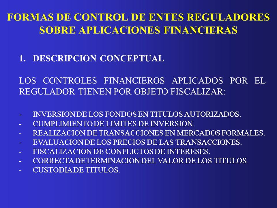 FORMAS DE CONTROL DE ENTES REGULADORES SOBRE APLICACIONES FINANCIERAS 1.DESCRIPCION CONCEPTUAL LOS CONTROLES FINANCIEROS APLICADOS POR EL REGULADOR TI