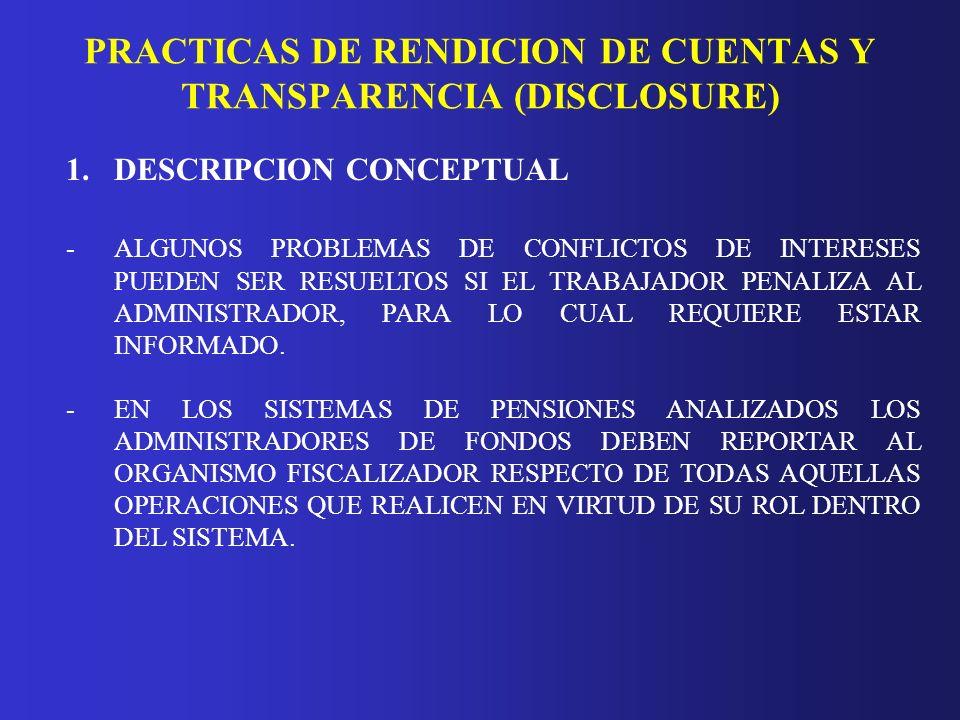 PRACTICAS DE RENDICION DE CUENTAS Y TRANSPARENCIA (DISCLOSURE) 1.DESCRIPCION CONCEPTUAL -ALGUNOS PROBLEMAS DE CONFLICTOS DE INTERESES PUEDEN SER RESUE