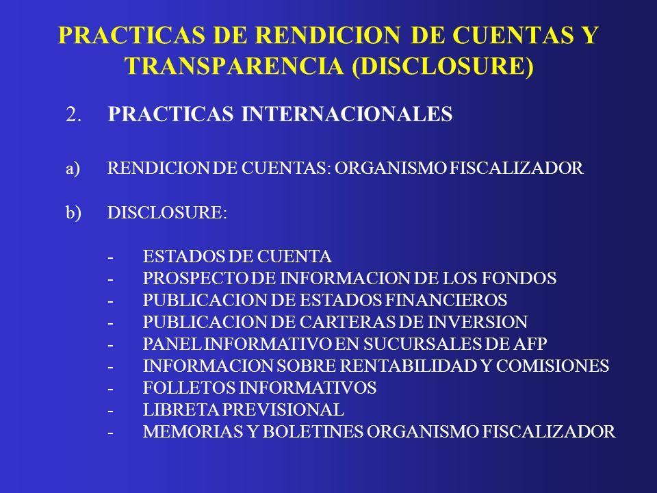 PRACTICAS DE RENDICION DE CUENTAS Y TRANSPARENCIA (DISCLOSURE) 2.PRACTICAS INTERNACIONALES a)RENDICION DE CUENTAS: ORGANISMO FISCALIZADOR b)DISCLOSURE