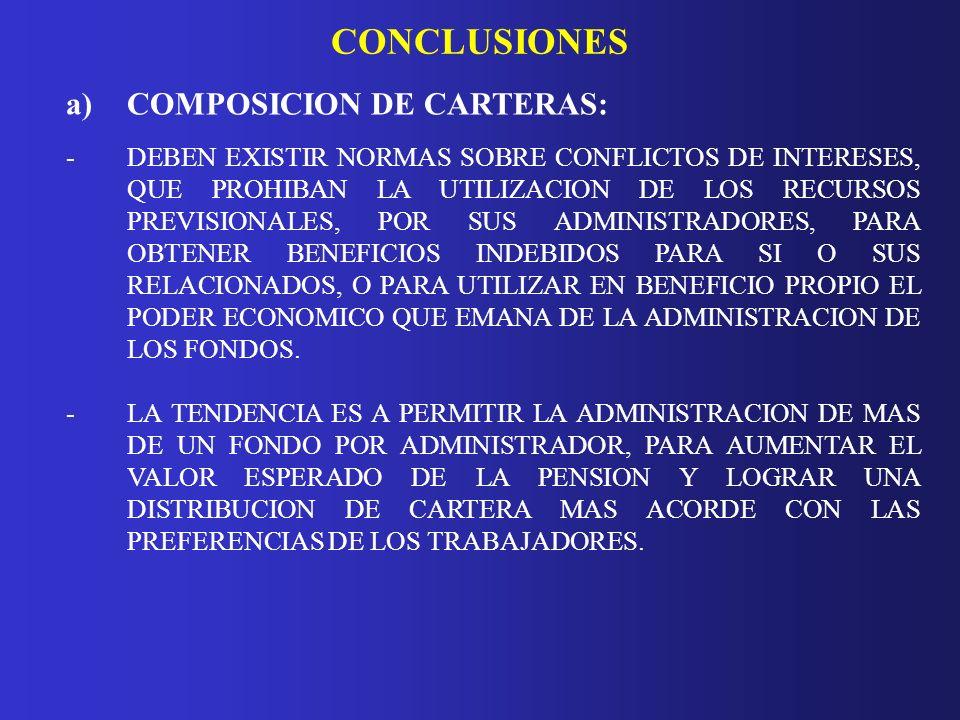 CONCLUSIONES a)COMPOSICION DE CARTERAS: -DEBEN EXISTIR NORMAS SOBRE CONFLICTOS DE INTERESES, QUE PROHIBAN LA UTILIZACION DE LOS RECURSOS PREVISIONALES