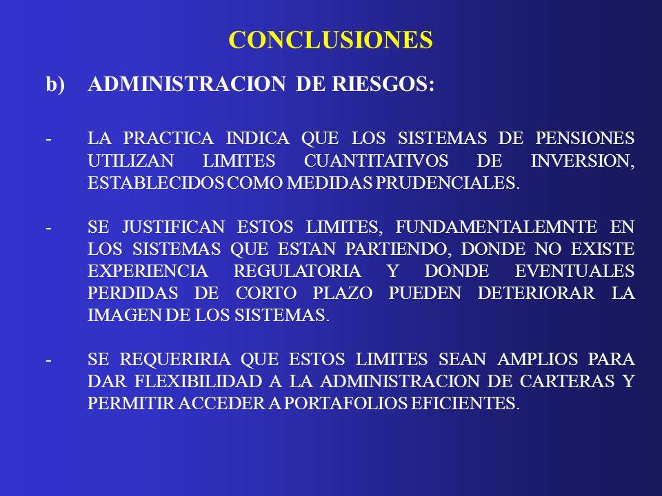 CONCLUSIONES b)ADMINISTRACION DE RIESGOS: - LA PRACTICA INDICA QUE LOS SISTEMAS DE PENSIONES UTILIZAN LIMITES CUANTITATIVOS DE INVERSION, ESTABLECIDOS