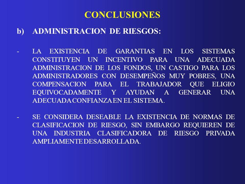 CONCLUSIONES b)ADMINISTRACION DE RIESGOS: - LA EXISTENCIA DE GARANTIAS EN LOS SISTEMAS CONSTITUYEN UN INCENTIVO PARA UNA ADECUADA ADMINISTRACION DE LO