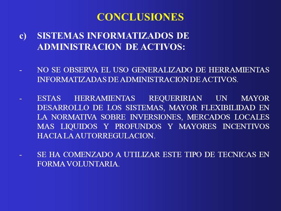 CONCLUSIONES c)SISTEMAS INFORMATIZADOS DE ADMINISTRACION DE ACTIVOS: - NO SE OBSERVA EL USO GENERALIZADO DE HERRAMIENTAS INFORMATIZADAS DE ADMINISTRAC