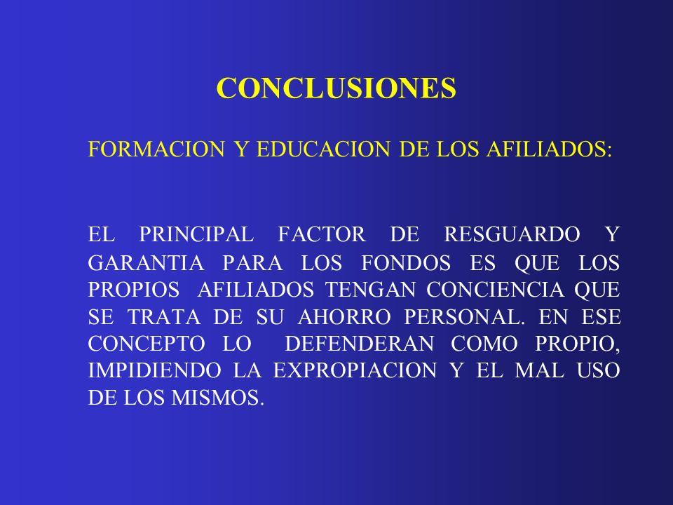 CONCLUSIONES FORMACION Y EDUCACION DE LOS AFILIADOS: EL PRINCIPAL FACTOR DE RESGUARDO Y GARANTIA PARA LOS FONDOS ES QUE LOS PROPIOS AFILIADOS TENGAN C