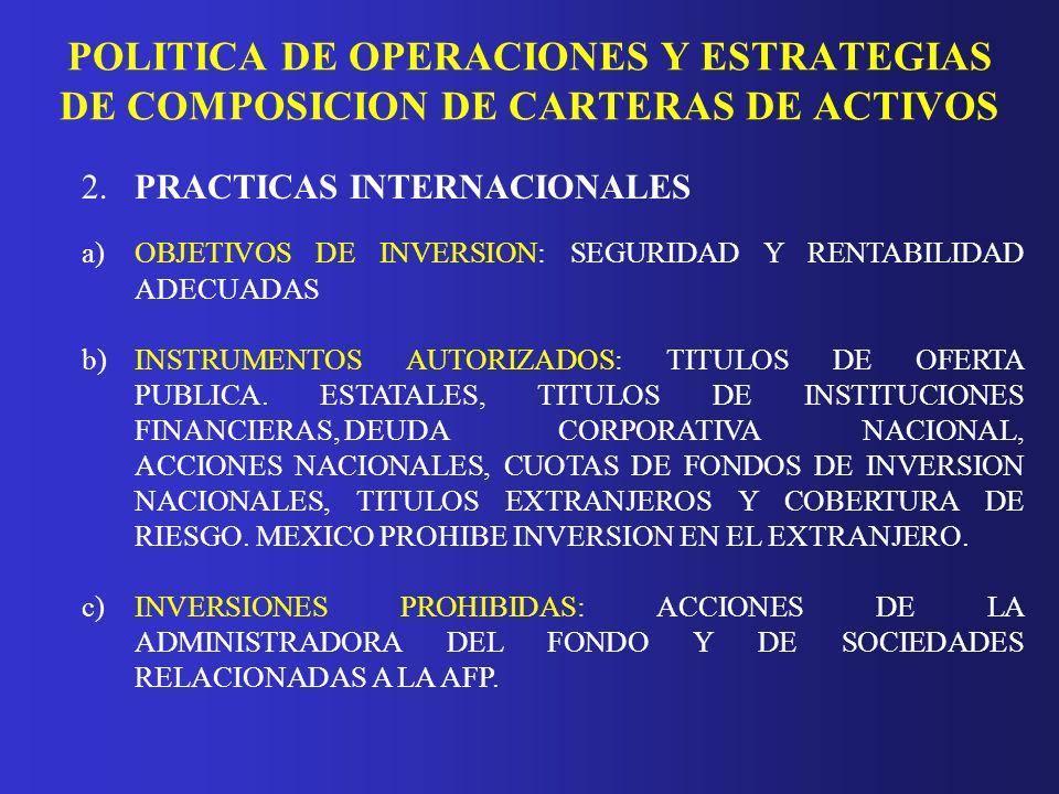 POLITICA DE OPERACIONES Y ESTRATEGIAS DE COMPOSICION DE CARTERAS DE ACTIVOS 2.PRACTICAS INTERNACIONALES a)OBJETIVOS DE INVERSION: SEGURIDAD Y RENTABIL