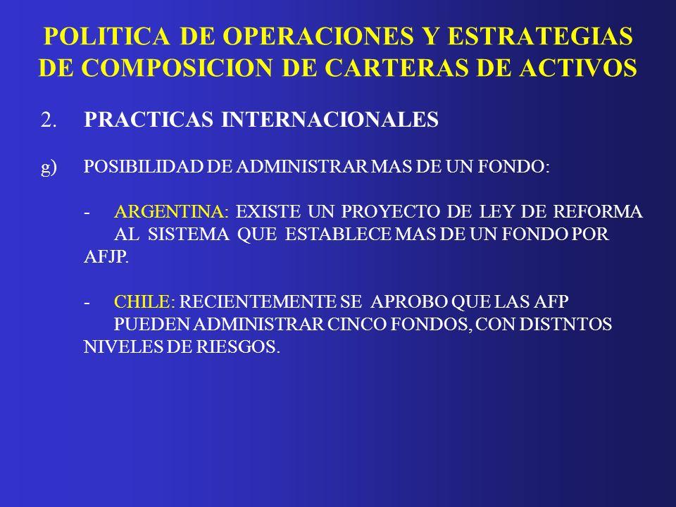 POLITICA DE OPERACIONES Y ESTRATEGIAS DE COMPOSICION DE CARTERAS DE ACTIVOS 2.PRACTICAS INTERNACIONALES g)POSIBILIDAD DE ADMINISTRAR MAS DE UN FONDO: -MEXICO: LEY PERMITE A LAS ADMINISTRADORAS OPERAR DISTINTOS PORTAFOLIOS.
