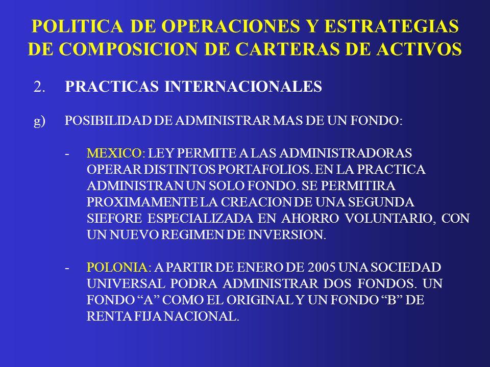 PRACTICAS DE MEDICION Y ADMINISTRACION DE RIESGOS 2.PRACTICAS INTERNACIONALES a)LIMITES DE INVERSION: EXISTEN LIMITES MAXIMOS DE INVERSION POR INSTRUMENTO Y EMISOR.