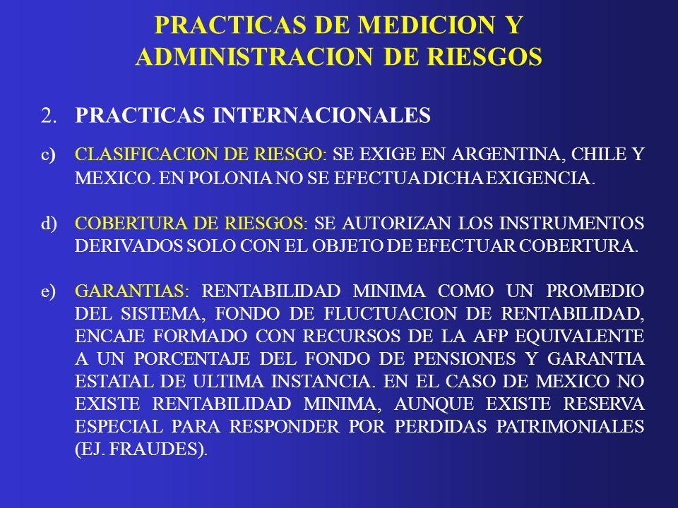 PRACTICAS DE MEDICION Y ADMINISTRACION DE RIESGOS 2.PRACTICAS INTERNACIONALES c)CLASIFICACION DE RIESGO: SE EXIGE EN ARGENTINA, CHILE Y MEXICO. EN POL