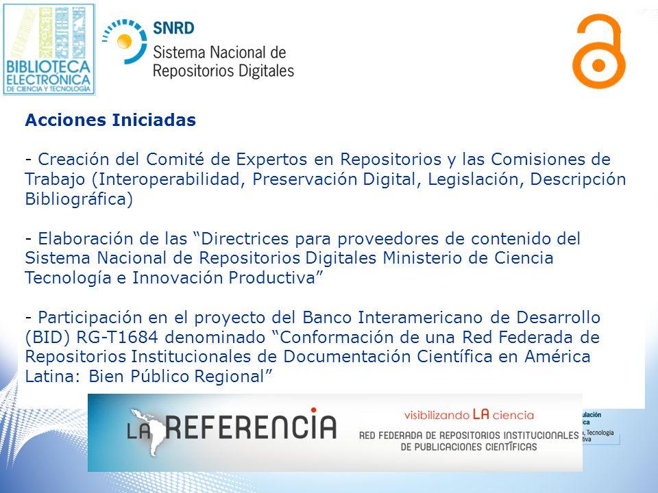 Acciones Iniciadas - Creación del Comité de Expertos en Repositorios y las Comisiones de Trabajo (Interoperabilidad, Preservación Digital, Legislación