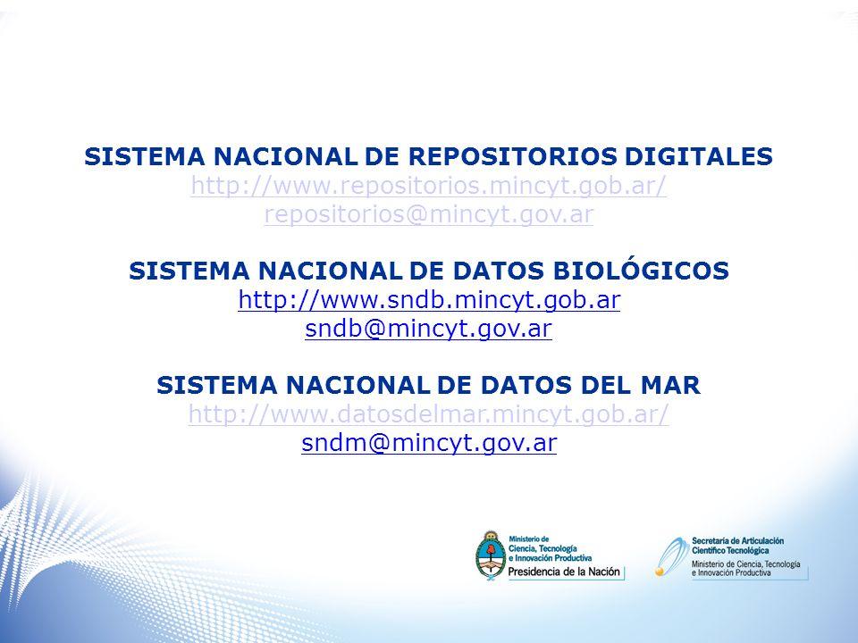 SISTEMA NACIONAL DE REPOSITORIOS DIGITALES http://www.repositorios.mincyt.gob.ar/ repositorios@mincyt.gov.ar SISTEMA NACIONAL DE DATOS BIOLÓGICOS http