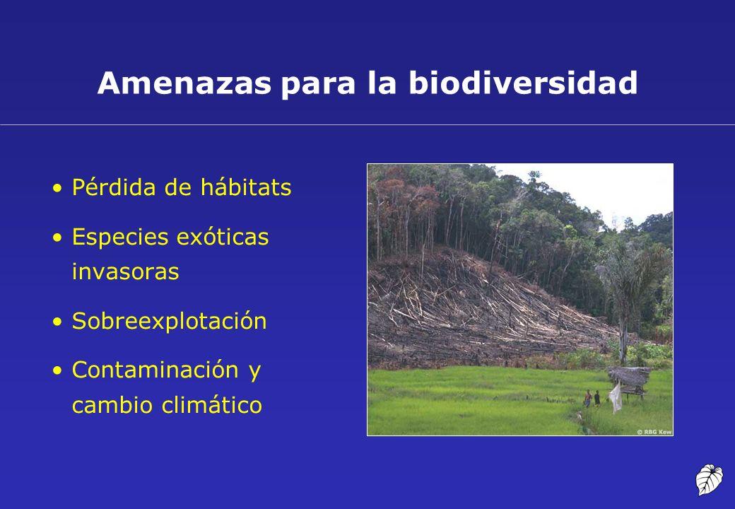 Amenazas para la biodiversidad Pérdida de hábitats Especies exóticas invasoras Sobreexplotación Contaminación y cambio climático