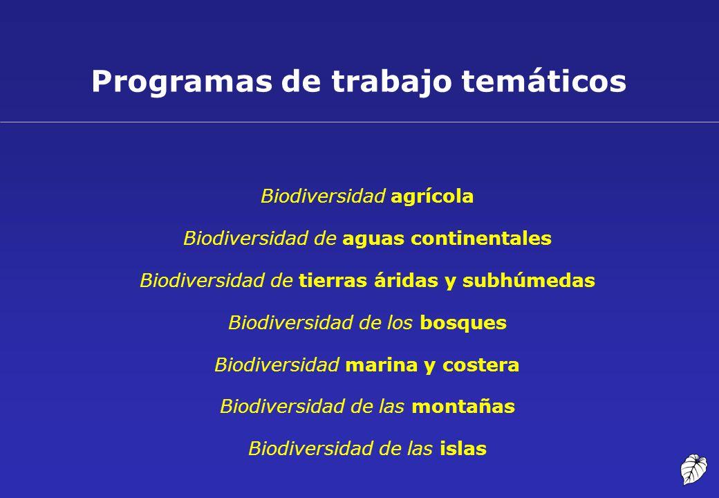 Programas de trabajo temáticos Biodiversidad agrícola Biodiversidad de aguas continentales Biodiversidad de tierras áridas y subhúmedas Biodiversidad