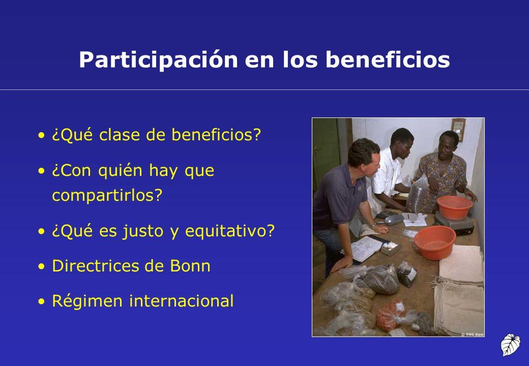 Participación en los beneficios ¿Qué clase de beneficios? ¿Con quién hay que compartirlos? ¿Qué es justo y equitativo? Directrices de Bonn Régimen int