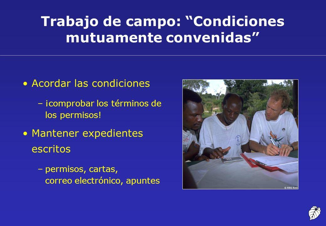 Trabajo de campo: Condiciones mutuamente convenidas Acordar las condiciones –¡comprobar los términos de los permisos! Mantener expedientes escritos –p