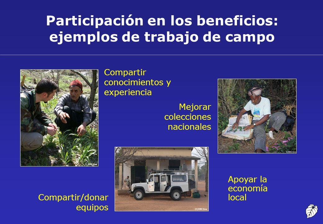 Participación en los beneficios: ejemplos de trabajo de campo Compartir conocimientos y experiencia Mejorar colecciones nacionales Compartir/donar equ