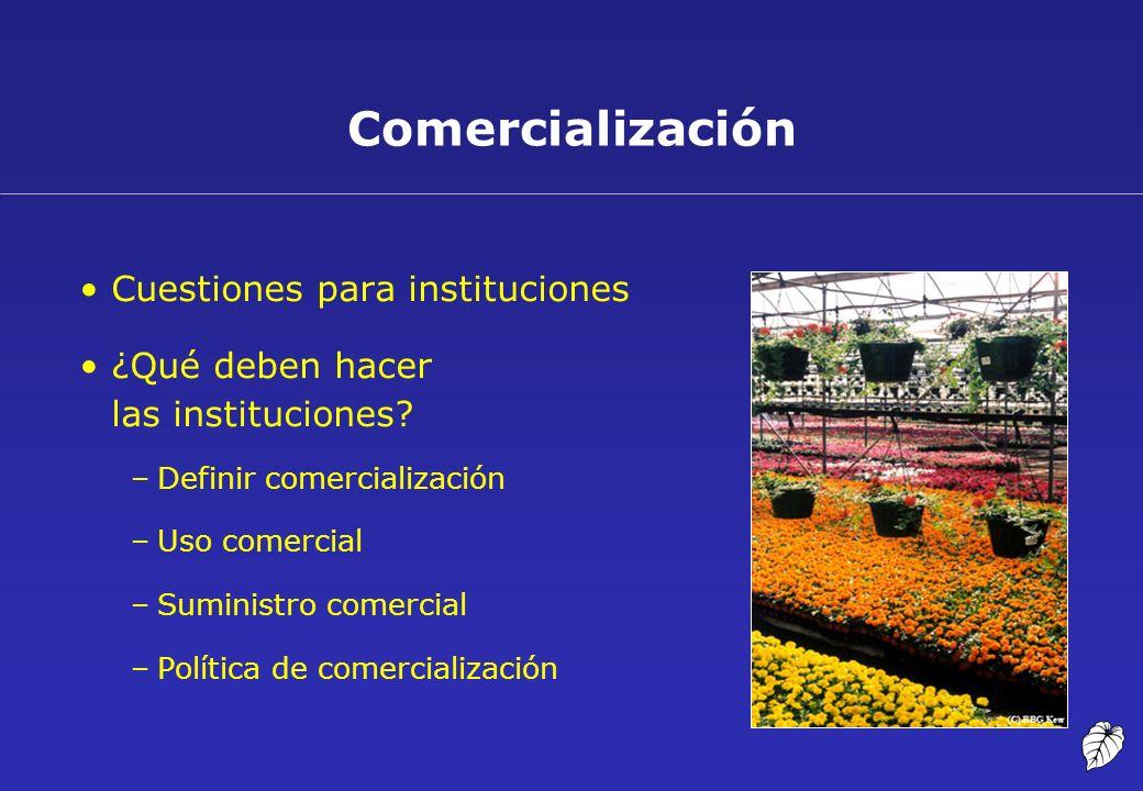 Comercialización Cuestiones para instituciones ¿Qué deben hacer las instituciones? –Definir comercialización –Uso comercial –Suministro comercial –Pol