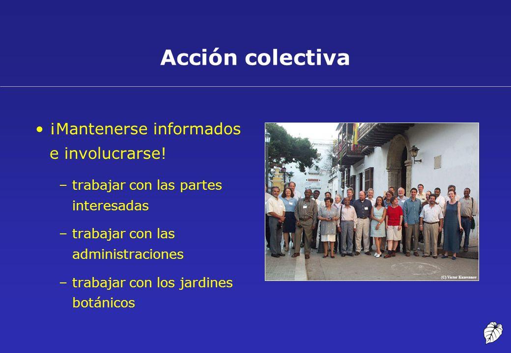 Acción colectiva ¡Mantenerse informados e involucrarse! –trabajar con las partes interesadas –trabajar con las administraciones –trabajar con los jard