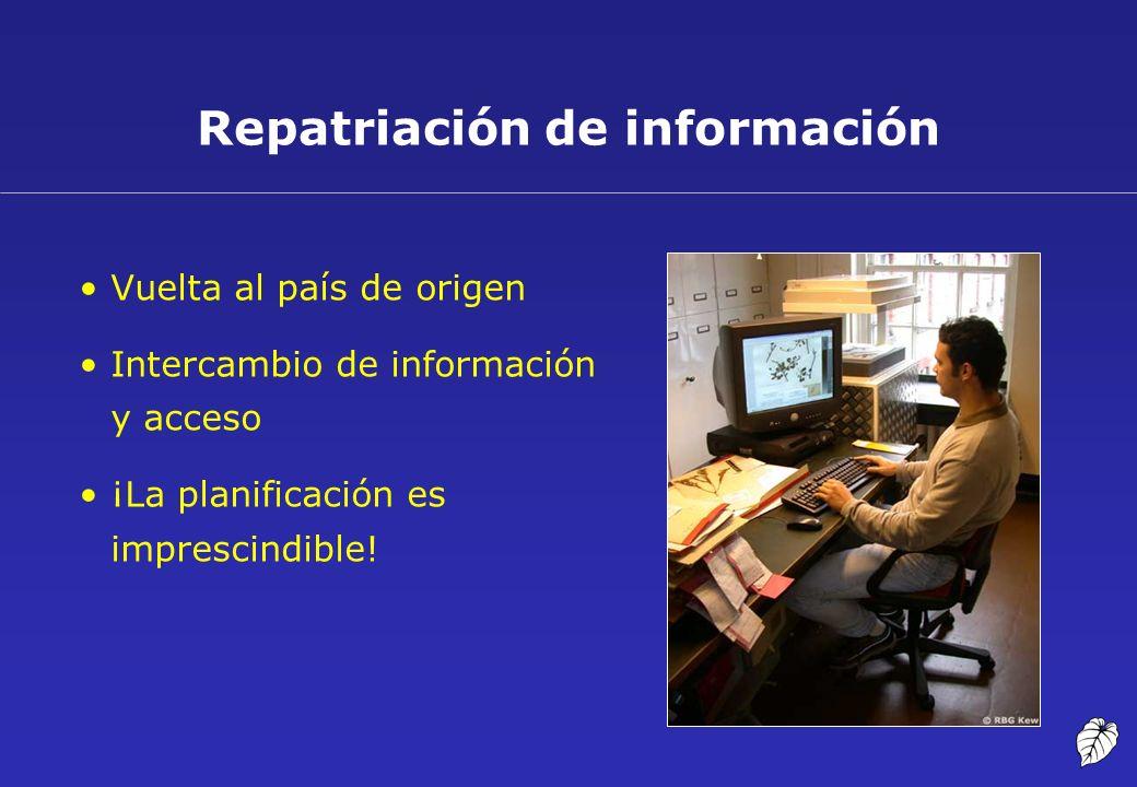 Vuelta al país de origen Intercambio de información y acceso ¡La planificación es imprescindible! Repatriación de información