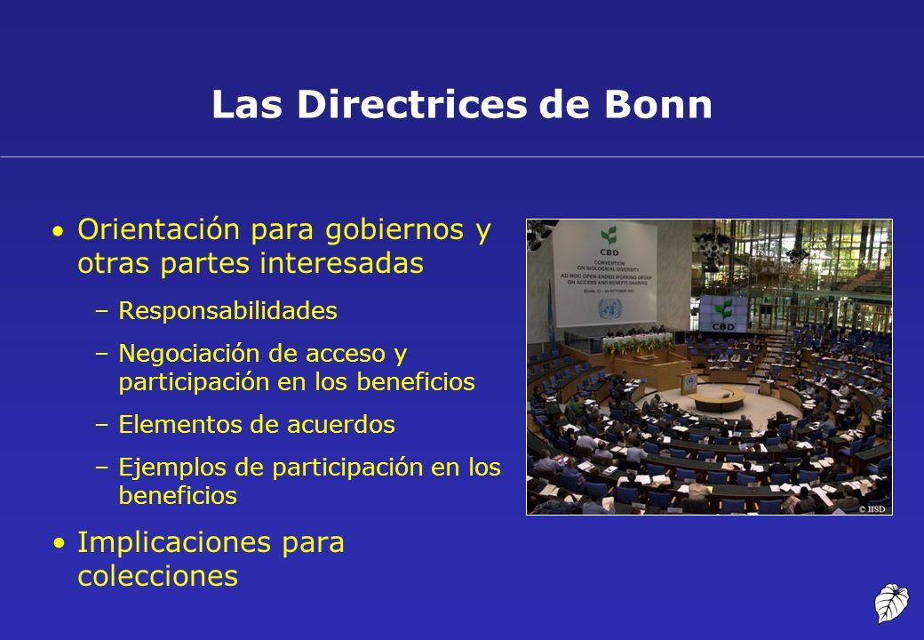 Las Directrices de Bonn Orientación para gobiernos y otras partes interesadas –Responsabilidades –Negociación de acceso y participación en los benefic
