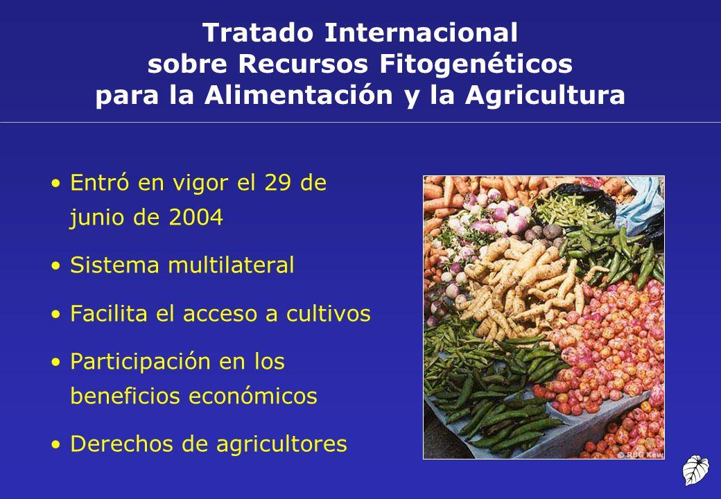 Tratado Internacional sobre Recursos Fitogenéticos para la Alimentación y la Agricultura Entró en vigor el 29 de junio de 2004 Sistema multilateral Fa