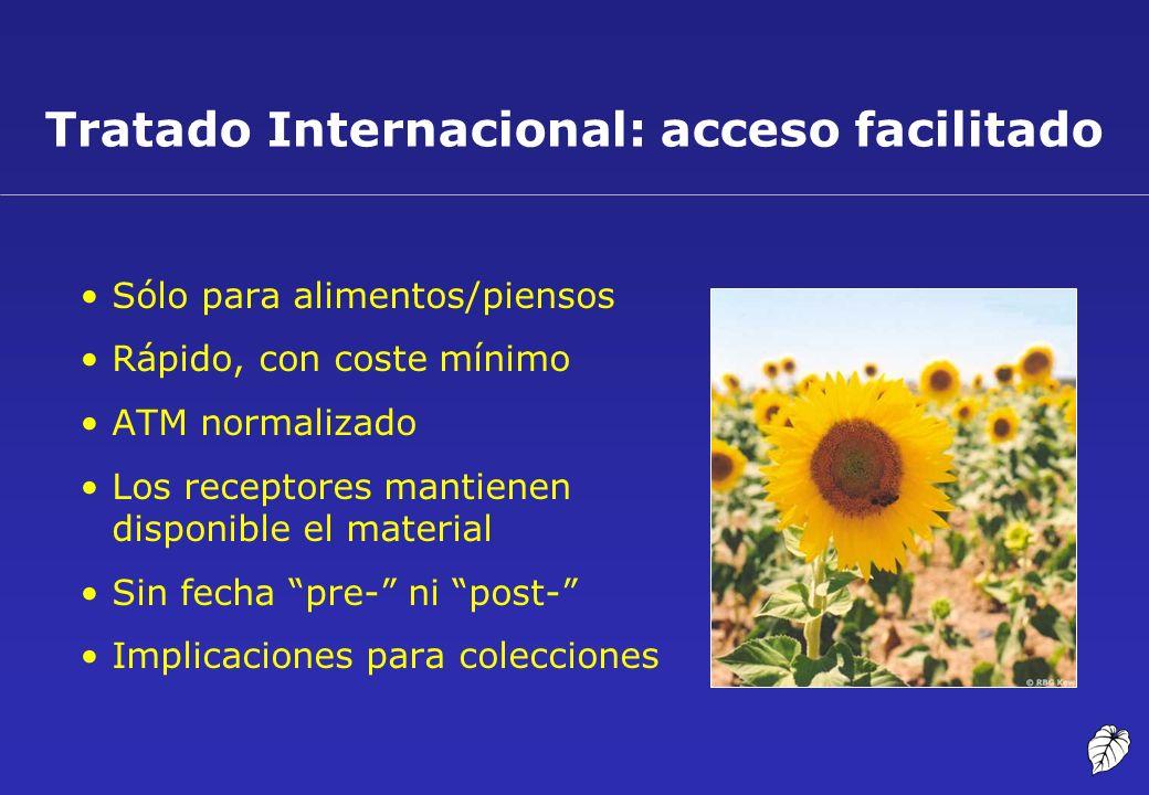 Tratado Internacional: acceso facilitado Sólo para alimentos/piensos Rápido, con coste mínimo ATM normalizado Los receptores mantienen disponible el m
