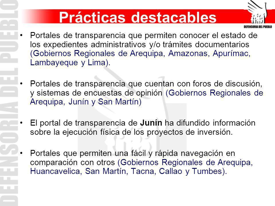 Prácticas destacables Portales de transparencia que permiten conocer el estado de los expedientes administrativos y/o trámites documentarios (Gobierno