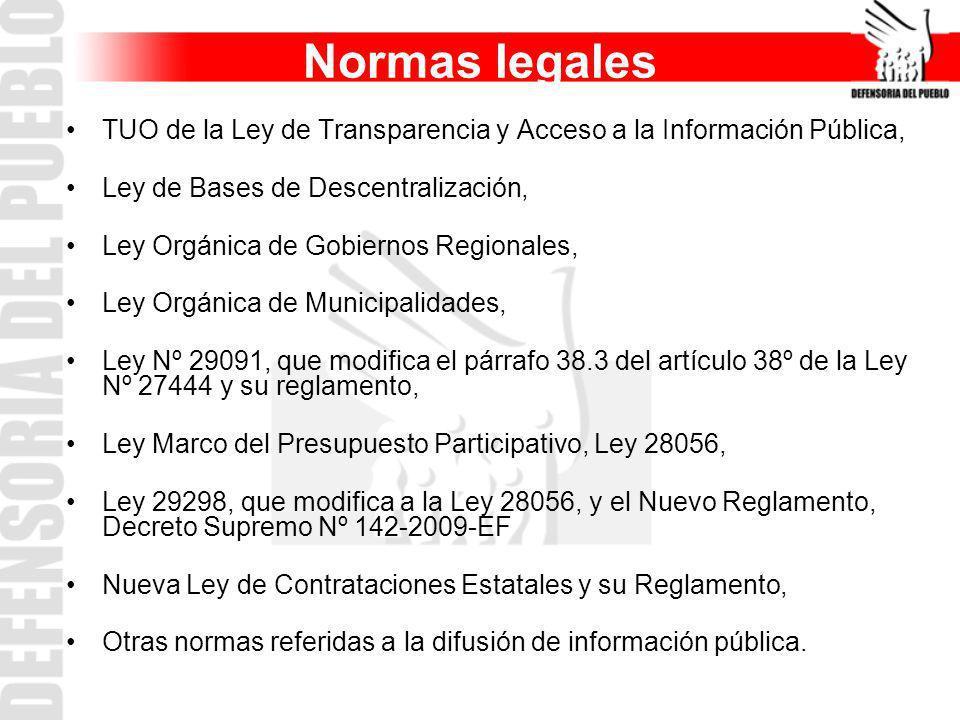 Normas legales TUO de la Ley de Transparencia y Acceso a la Información Pública, Ley de Bases de Descentralización, Ley Orgánica de Gobiernos Regional