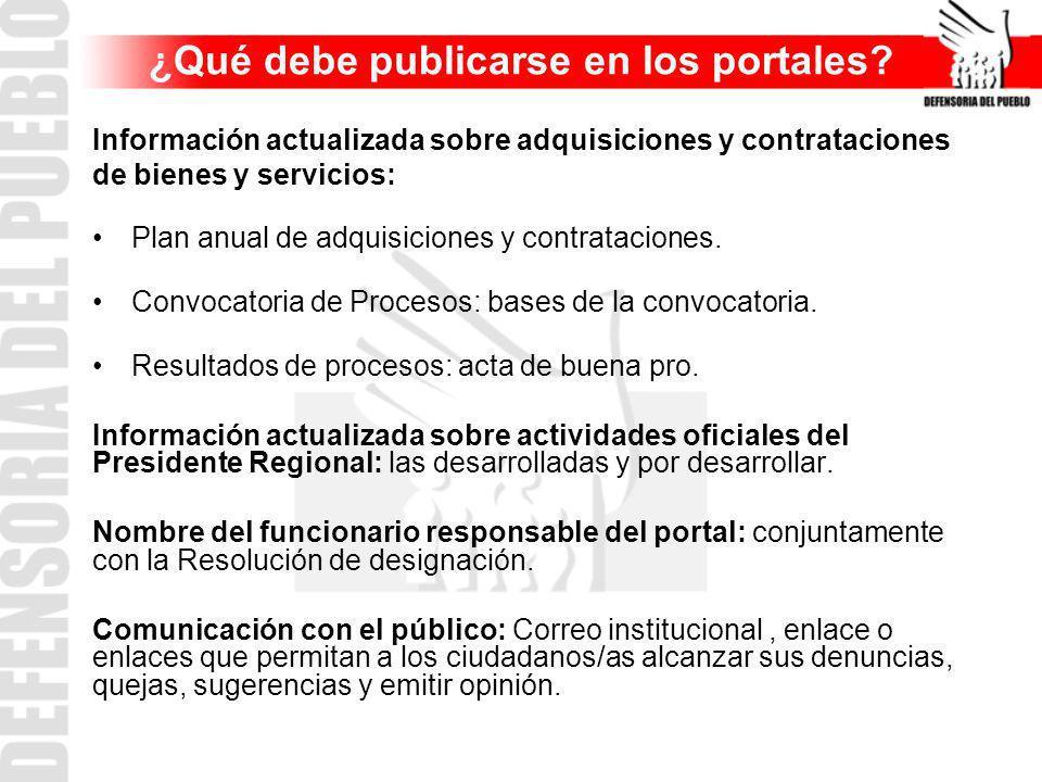 Información actualizada sobre adquisiciones y contrataciones de bienes y servicios: Plan anual de adquisiciones y contrataciones. Convocatoria de Proc