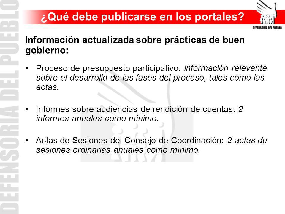 Información actualizada sobre prácticas de buen gobierno: Proceso de presupuesto participativo: información relevante sobre el desarrollo de las fases