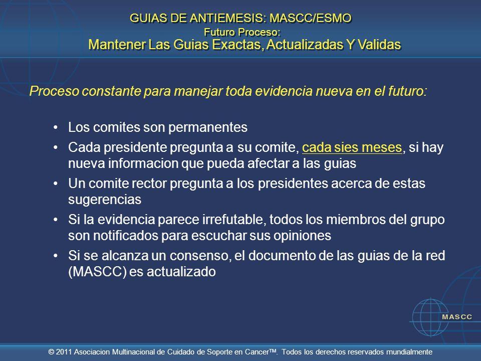 © 2011 Asociacion Multinacional de Cuidado de Soporte en Cancer TM. Todos los derechos reservados mundialmente Proceso constante para manejar toda evi