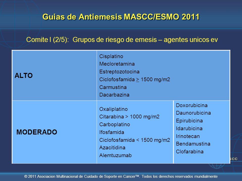 © 2011 Asociacion Multinacional de Cuidado de Soporte en Cancer TM. Todos los derechos reservados mundialmente Guias de Antiemesis MASCC/ESMO 2011 Com