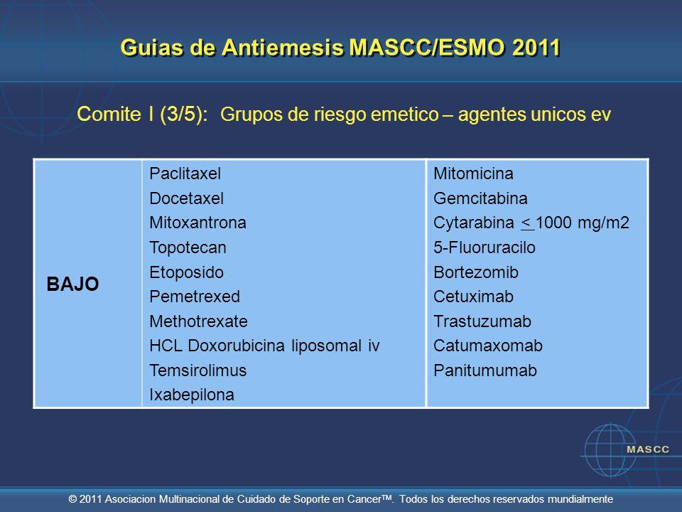 © 2011 Asociacion Multinacional de Cuidado de Soporte en Cancer TM. Todos los derechos reservados mundialmente Comite I (3/5): Grupos de riesgo emetic