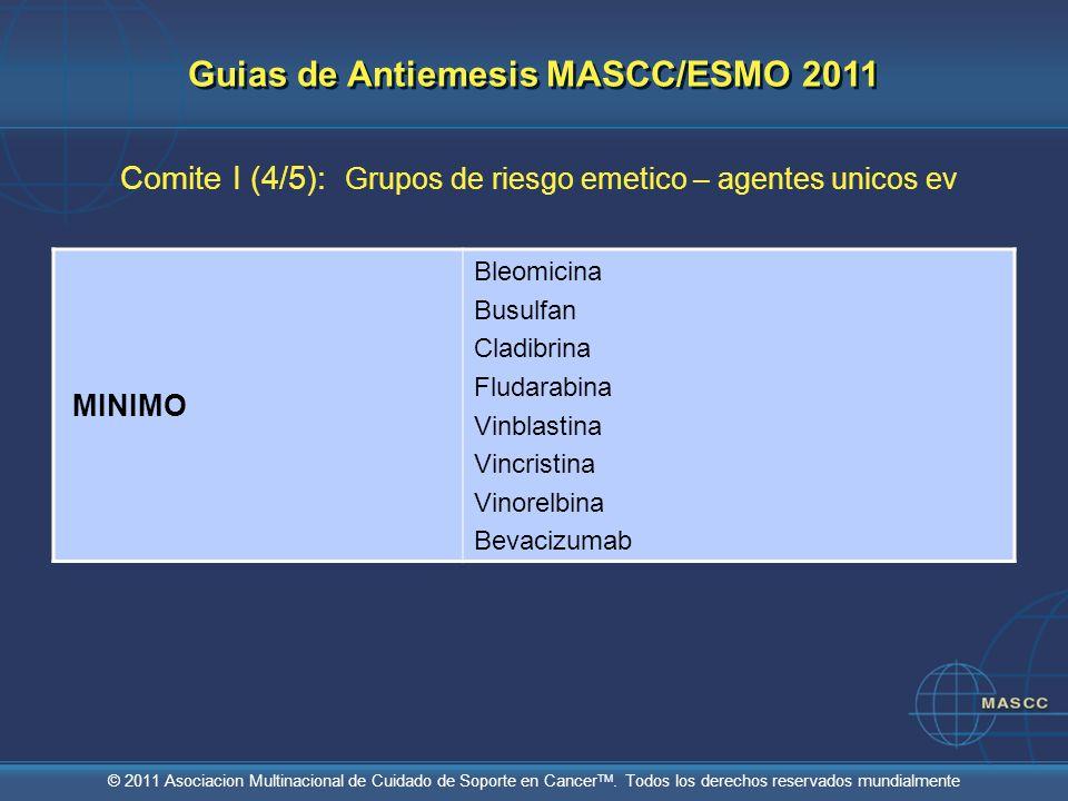 © 2011 Asociacion Multinacional de Cuidado de Soporte en Cancer TM. Todos los derechos reservados mundialmente Comite I (4/5): Grupos de riesgo emetic