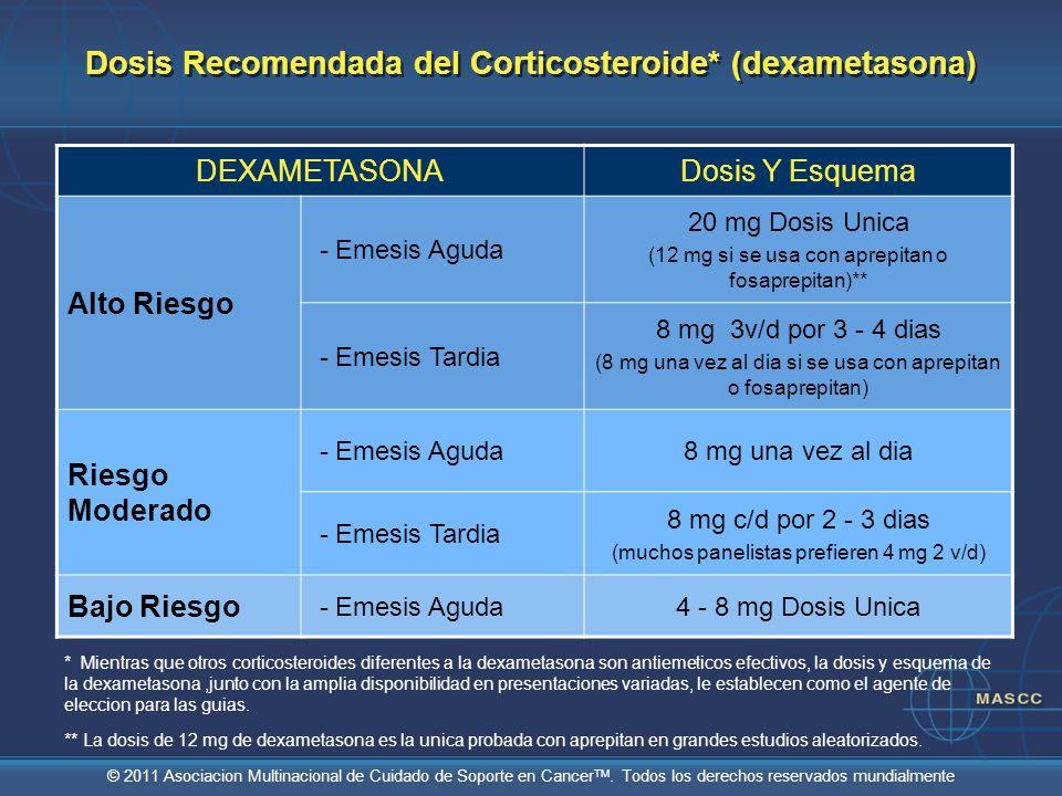 © 2011 Asociacion Multinacional de Cuidado de Soporte en Cancer TM. Todos los derechos reservados mundialmente Dosis Recomendada del Corticosteroide*