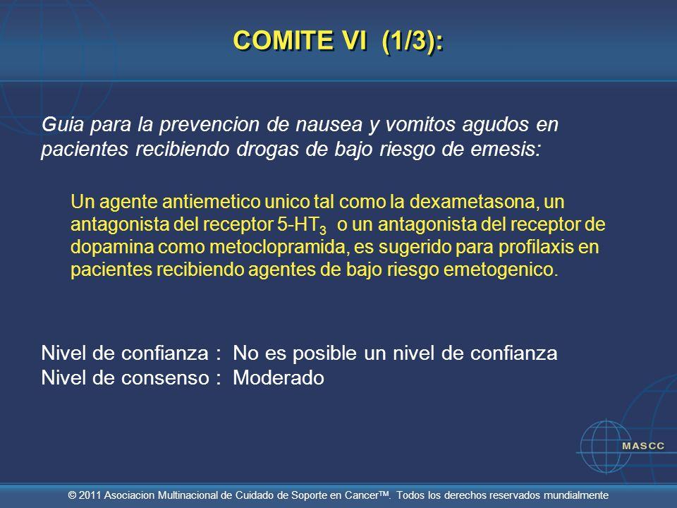 © 2011 Asociacion Multinacional de Cuidado de Soporte en Cancer TM. Todos los derechos reservados mundialmente COMITE VI (1/3): Guia para la prevencio