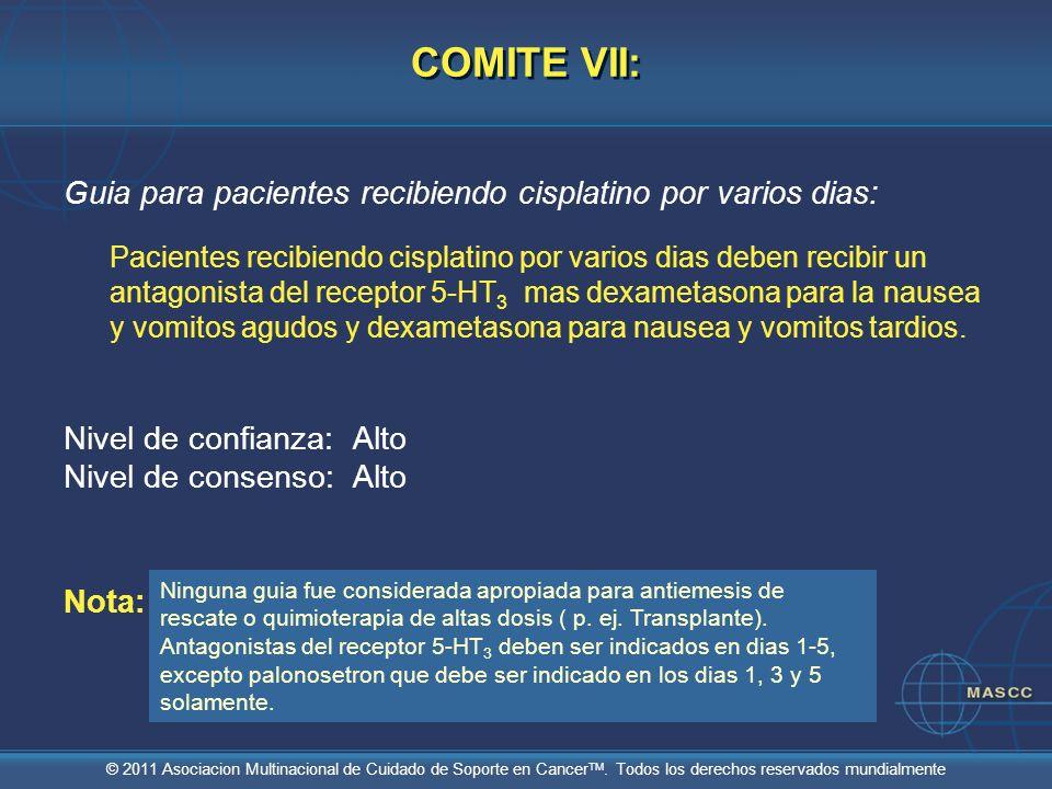 © 2011 Asociacion Multinacional de Cuidado de Soporte en Cancer TM. Todos los derechos reservados mundialmente COMITE VII: Guia para pacientes recibie