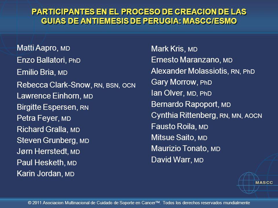 © 2011 Asociacion Multinacional de Cuidado de Soporte en Cancer TM. Todos los derechos reservados mundialmente PARTICIPANTES EN EL PROCESO DE CREACION