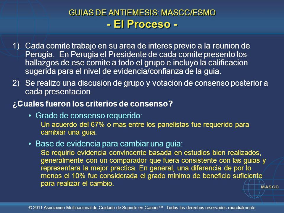 © 2011 Asociacion Multinacional de Cuidado de Soporte en Cancer TM. Todos los derechos reservados mundialmente GUIAS DE ANTIEMESIS: MASCC/ESMO - El Pr