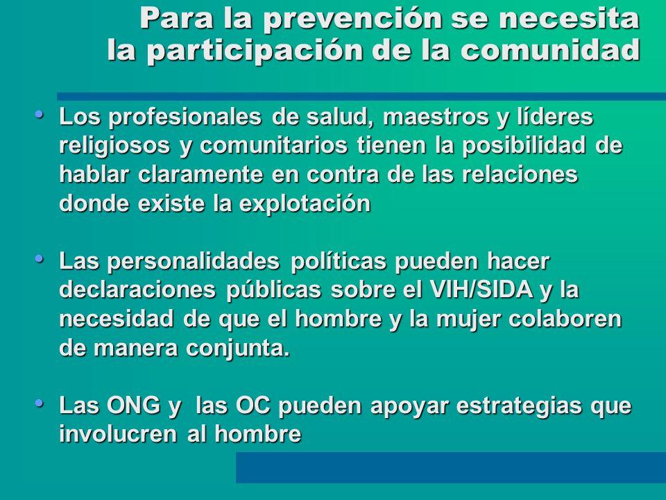 Para la prevención se necesita Para la prevención se necesita la participación de la comunidad la participación de la comunidad Los profesionales de s
