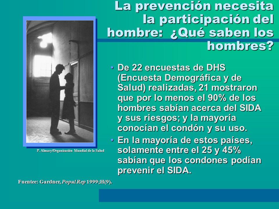 La prevención necesita la participación del hombre: ¿Qué saben los hombres? De 22 encuestas de DHS (Encuesta Demográfica y de Salud) realizadas, 21 mo